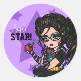 Smartieの学校の女の子によってすごい星の報酬のステッカー ラウンドシール