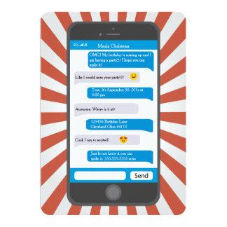 Smartphone Emojiの10代のなメールや文字を打つの誕生日の招待状 カード