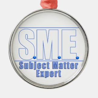 SMEのロゴの件名の専門家WHITE/BLUE メタルオーナメント