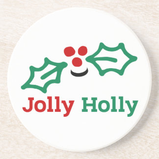 Smiling Jolly Holly Berries and Leaves コースター