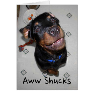 Smiling Rottweiler Puppy Thank You Note Card カード