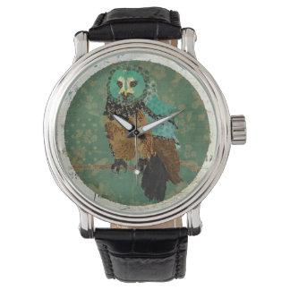 Smokeyのばら色のフクロウのダマスク織の腕時計 腕時計
