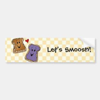 Smooshのピーナッツバターのゼリーの漫画のバンパーステッカー バンパーステッカー