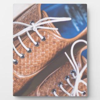 Snakeskin革ブラウンの靴 フォトプラーク