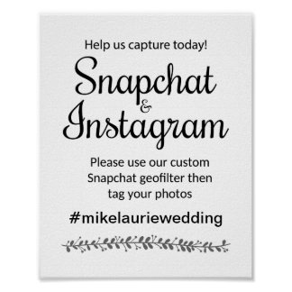 Snapchat Instagram Hashtagの結婚式の印-ロチェスター ポスター