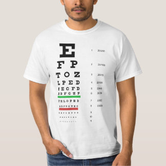 Snellenの視力検査表の価値Tシャツ Tシャツ