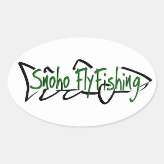 Snohoのはえの魚釣りのステッカー-緑 楕円形シール