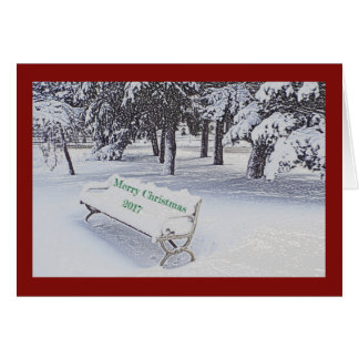 SNOW COVERED PARK BENCH/MERRY CHRISTMAS カード