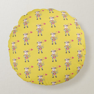 Snowbell in love pattern round yellow pillow ラウンドクッション