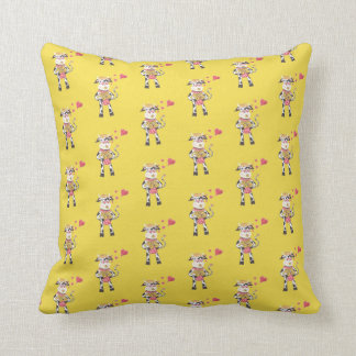 Snowbell in love pattern yellow throw pillow クッション
