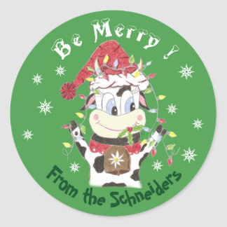 Snowbell the cow-Be merry , Christmas stickers ラウンドシール
