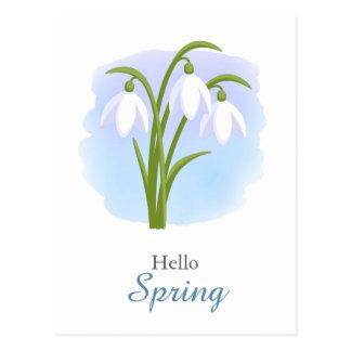 Snowdrops -春の花の水彩画の青い引用文 ポストカード