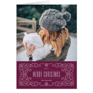 Snowflake Flourish Frame Holiday Card - Sugarplum カード