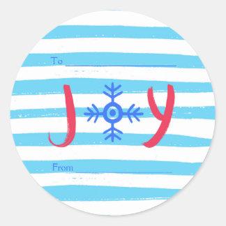 Snowflake Joy | Christmas Holiday Round Stickers ラウンドシール