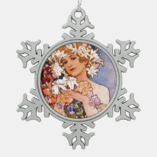 Snowflake Ornamentアールヌーボーのミュシャの女性 スノーフレークピューターオーナメント