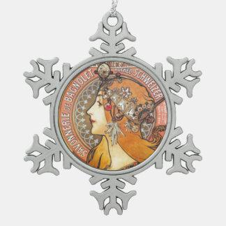 Snowflake Ornamentアールヌーボーのミュシャの女性 ピューター製スノーフレークオーナメント