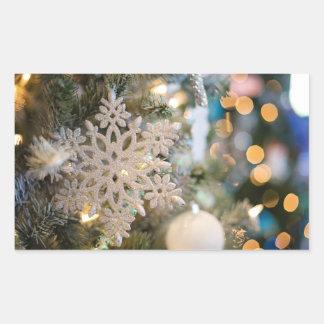 Snowflake Ornament on Christmas Tree Sticker 長方形シール