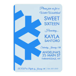 Snowflake Sweet 16 Invitation カード