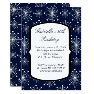 Snowflakes Glowing 30th Birthday Invitation カード