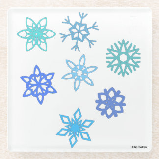 Snowflakes Pattern Holiday Glass Coaster ガラスコースター