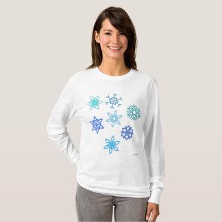 Snowflakes Pattern Women's Long Sleeve Shirt Tシャツ