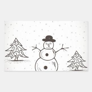 snowman2 長方形シール