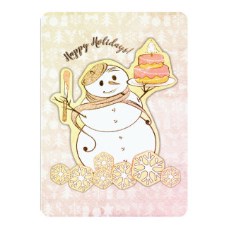 Snowman French bakery cake Christmas card カード