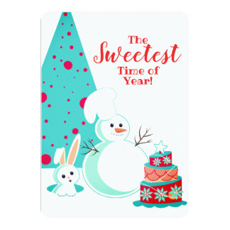 Snowman pastry chef cake Christmas card カード