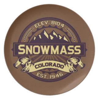 Snowmassのロゴのセピア色 プレート