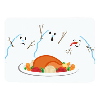 Snowmen turkey dinner culinary Christmas card カード