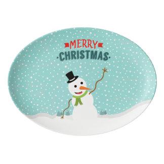 Snowyのクリスマスの幸せでお洒落な雪だるま 磁器大皿