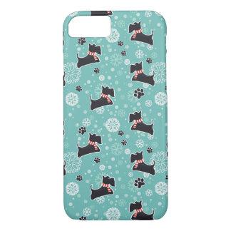 Snowyのスコッチテリア犬のクリスマスパターン iPhone 8/7ケース