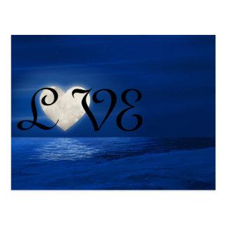 Snowyのビーチ愛冬のハートの月 ポストカード