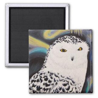 Snowyのフクロウのポートレート マグネット
