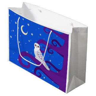 Snowyのフクロウの三日月形の月夜森林芸術 ラージペーパーバッグ
