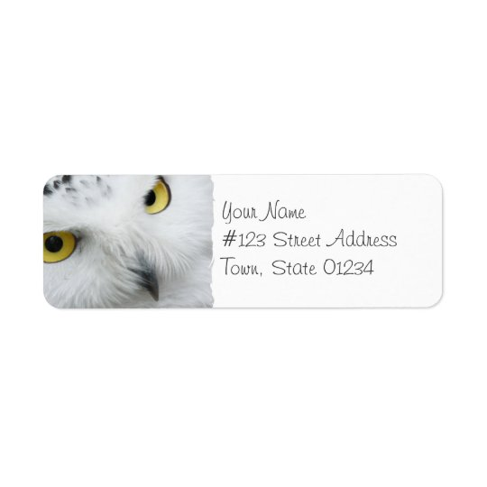 Snowyのフクロウの写真の郵送物のラベル ラベル