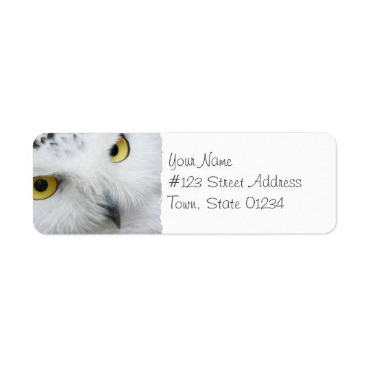 Snowyのフクロウの写真の郵送物のラベル 返信用宛名ラベル