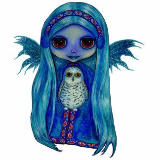 Snowyのフクロウの妖精の彫刻 写真彫刻(台付き)