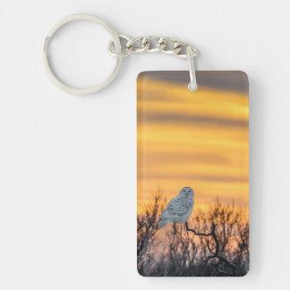 Snowyのフクロウの日没Keychain キーホルダー
