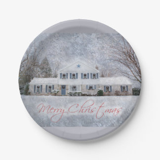 Snowyの国の田園クリスマスの休日の挨拶 ペーパープレート