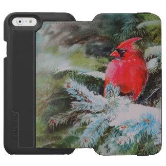 Snowyの大枝の赤い(鳥)ショウジョウコウカンチョウ iPhone 6/6sウォレットケース
