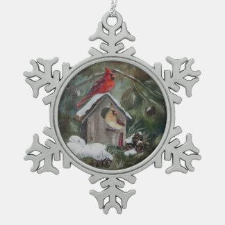 Snowyの巣箱の(鳥)ショウジョウコウカンチョウ スノーフレークピューターオーナメント
