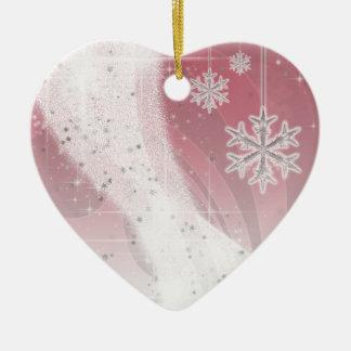 Snowyの星のリボンは(赤く及び白い)カスタマイズ セラミックオーナメント