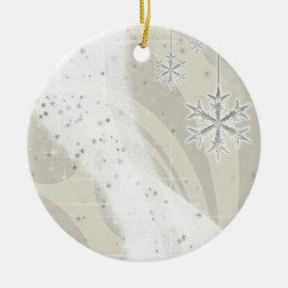 Snowyの星のリボン(シャンペン)はカスタマイズ セラミックオーナメント