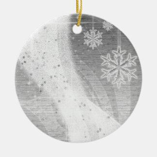Snowyの星のリボン(銀)はカスタマイズ セラミックオーナメント