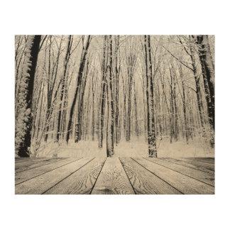 Snowyの木のポーチおよび森林 ウッドウォールアート