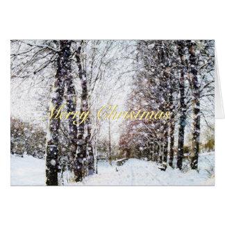 Snowyの木の車線の休日の景色のメリークリスマス グリーティングカード