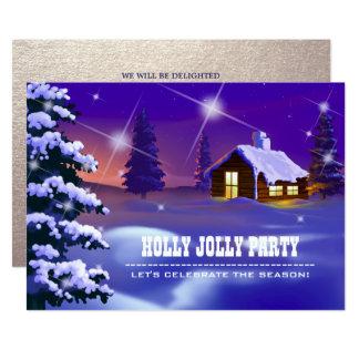 Snowyの村のカスタムなクリスマスのパーティの招待状 カード