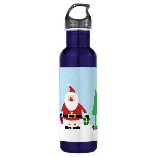 Snowyの漫画サンタとのおよびクリスマスツリー ウォーターボトル