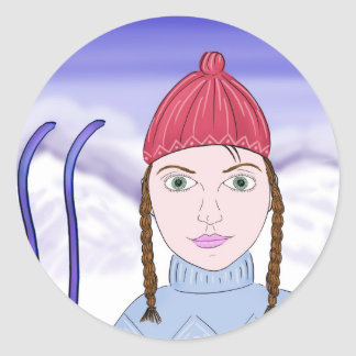 Snowyの背景の大きい緑の瞳を持つかわいい女の子 ラウンドシール